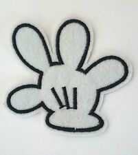 """4"""" Disney Mickey mouse White hand/glove Embroidered Iron On / Sew On Patch"""