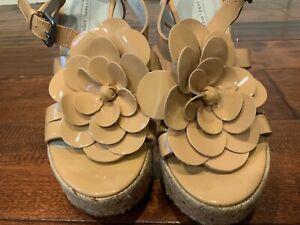 Vera Wang Lavender Tan Floral Espadrille Wedge Platform Heels, Size 8.5