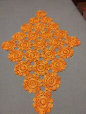 Vtg Large Triangle Orange Crochet Flower Table Runner Doilie 221/2 x 14 1/2""