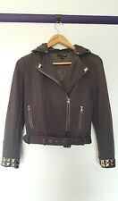 Ladakh womens size S black zip up hoodie bling belted military style jacket
