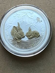2011 AUSTRALIA YEAR OF THE RABBIT 2 OUNCE SILVER COIN GEM UNCIRCULATED