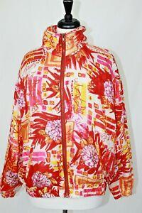 VTG Womens 100% silk Jacket EVR DIV Rousso Apparel Group M Pink Orange 80s 90s