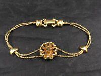 """Vintage Golden Bracelet Flower Design with Amber Stone 6"""""""