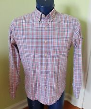 J. Crew Factory Washed Shirt Plaid Button Down 100% Cotton red lavender Medium M