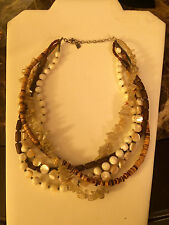 SILPADA N1507 Wood Quartz Mother of Pearl SterlingSilver 5 Strand Bead Necklace