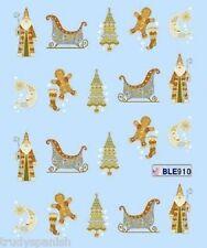 Nail Art Water Decals Transfers Christmas Gingerbread Man Moon Gel Polish (910)