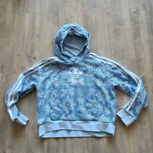 Adidas Blue Culture Clash Kids Hoodie Paisley Boho Print Pullover Size S