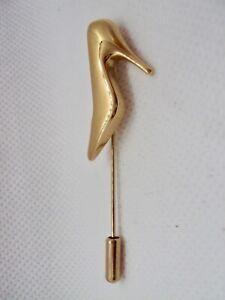 Signed Salvatore Ferragamo 100% Authentic Gold Shoe Stick Pin Brooches Jewelry