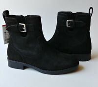 Zara Girl Black Leather Suede Ankle Boots Size 13 US Youth Designer Dress Shoes