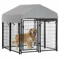4'x4'x4.3' OutDoor Heavy Duty Playpen Welded Dog Kennel w/ Water-Resistant Cover