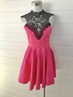 New PAPER HEART Pink Fit & Flare Dress Black Lace Trim - Size 12