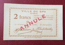 Belgique -  Très Joli Billet de necessité de la Ville de Spa 1914 - Annulé