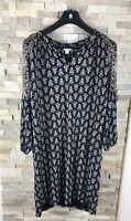Monsoon Ladies UK 14 Black Tunic Smock Shift Jersy Print Dress