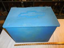VINTAGE METAL MILK DAIRY BOX /WHITE  DAIRY  --CHEVROLET EMBLEM ADDED