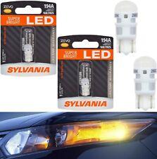 Sylvania ZEVO LED Light 194 Amber Orange Two Bulb License Plate Tag Upgrade Lamp