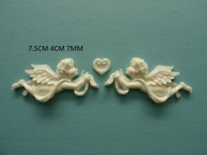 Decorative cherubs and heart applique onlay resin furniture mouldings onlay Z98