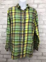 WOOLRICH Oxbow Bend Flannel Shirt Green Yellow Pockets Women's Plaid Size Medium