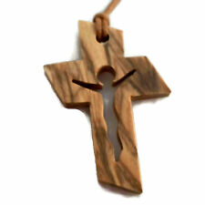 Jesus in Cross Christian Olive Wood Pendant Necklace Holyland Top Quality HJW