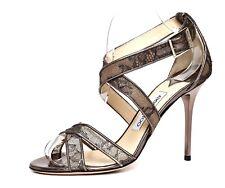 Jimmy Choo High Heel Strappy Leather Sandal Metallic Women Sz 39.5 4968