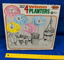 1976 Arrow Handicraft Damon Hobby Craft Toy 4 Wood Planters Kit