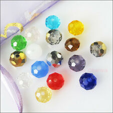 15 New Charms Faceted Round Flat  Glass Crystal Rondelle Spacer Beads Mixed 10mm