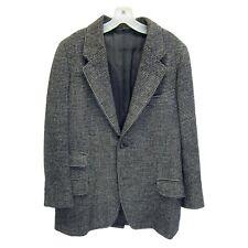 Harris Tweed Vtg 3 Button Checked Gray 100% Wool Blazer Sport Coat Size 39R