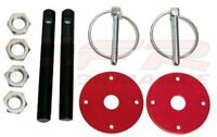 Black Hood Pin w/ Red Plates Kit Flip-Over Style Universal for Chevy Ford Mopar