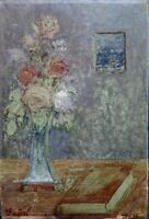 Unknown Unidentified European: Still Life & Roses in Vase/ German Vintage Pastel
