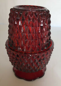 Vintage Indiana Glass Diamond Point Red Flash Fairy Lamp Candle Holder