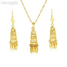 Lovely Gold Long Dangle Pendant Necklace and Earrings Party Gift Jewellery Set