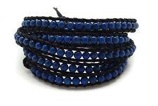 "CHAN LUU Blue Mineral Stones Black Leather 5 Wrap Bracelet 33 - 35"""