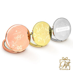 Personalized Vanity Compact Mirror Customize Engraved Round Christmas Gift