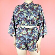 VINTAGE Rework Pattern 90s Blue Red Floral Two Piece Set Shirt Top Shorts S 8