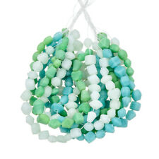 "3 Strand Turquoise Green & Clear Matte Glass Chip Beads 3 x 16"" strands (E62)"