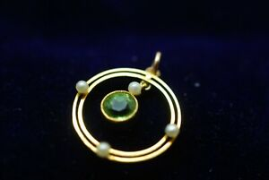 Antique Peridot Pendant Edwardian 9ct 9K 375 Gold Seed Pearl Round