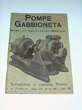 Scienza e tecnica - Catalogo Pompe Gabbioneta ( Milano ) - 1^ed. 1934