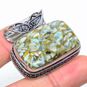 "Copper Larimar Gemstone  Ethnic 925 Sterling Silver Jewelry Pendant 1.34"""