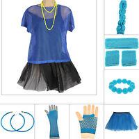 NEON BLUE 1980s FANCY DRESS LEG WARMERS TUTU TOP NECKLACE EARRINGS 80s HEN PARTY
