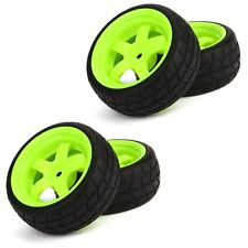 RC 1: 10 Racing Flat Car Plastic Green Wheel Rims&Rubber Square Tires Pack of 4