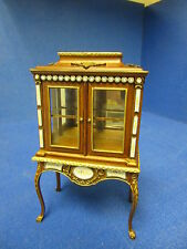 Quality 12th Dolls House Furniture Glass Display Cabinet Walnut  JaiYi 8103-02