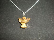 Natural TIGER EYE CARVED ANGEL gemstone pendant chain Necklace Healing