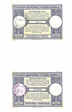 AQ372 1959-66 Great Britain & USA UPU International Reply Coupons {2} Used