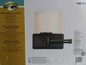 Hampton Bay Brookhaven 1-Light Bronze Swing Arm Sconce with Fabric Shade