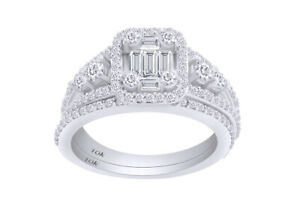 1 CT Baguette & Round Cut Natural Diamond Halo Bridal Set Ring In 10k White Gold