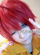 Kurz Cosplay Anime 30CM Kostüme Perück Naruto Sasori Rot für Fasching gewellt