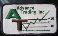"""ADVANCED TRADING EMBROIDERED SEW ON PATCH ADVERTISING UNIFORM 4 7/8"""" x 2 7/8"""""""