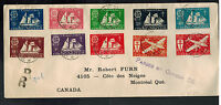 1942 St Pierre Miquelon airmail Censored cover to Montreal Canada # 300-307