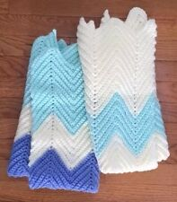 Knit Lap Warmers Blankets Lot (2). Handmade Blues Teal Off white