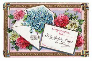 1910 Congratulations Embossed Postcard Flowers Gold Trim