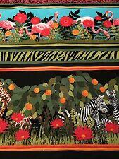 Fabric Zoo Animals & Flamingo Tropical Border on Cotton 1 Yard S